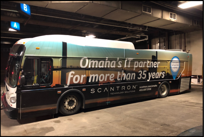 Street Side bus wrap on Omaha Metro Transit bus