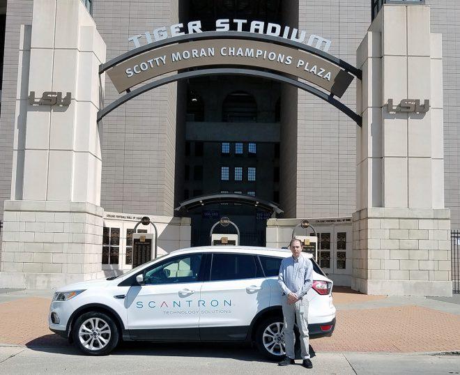 Steven Feasel outside LSU Tiger Stadium in Baton Rouge, LA