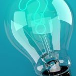 Light bulb with question mark on blue background. 3d illustration