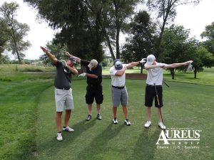 Jon Crumley and Jon Pierson dabbing on the green August 1 2019