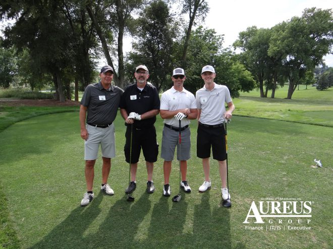 Jon Crumley and Jon Pierson golfing with members of the Omaha CIO Forum August 1 2019